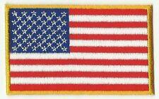 ECUSSON PATCH  PATCHE THERMOCOLLANT DRAPEAU USA ETATS UNIS 8X5CM BORDURE JAUNE