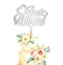 Just Married Wedding Nikkah Ceremony Cake Topper Party Decoration | Silver