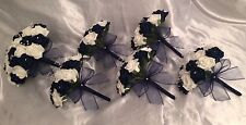 WEDDING ARTIFICIAL FLOWERS FOAM ROSE BOUQUETS - NAVY BLUE IVORY BRIDE BRIDESMAID
