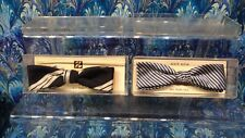 (2)  Vintage FORMAL MENS CLIP-ON SILK BOW TIES NEW ON DISPLAY CARD  in plastic