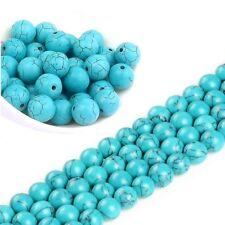 Türkis Perlen 12mm Blau Rund Edelstein Schmuckstein Naturstein Perlenkette G569