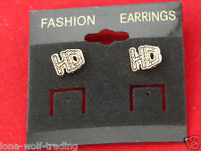 "Harley Davidson Stud Earrings ""Ladies H-D Chain"" Gold-HD03G-PE"