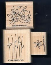 FLOWERS PILE SPRING STEM Daisy STAMPIN' UP! Basket Full of Fun wood RUBBER STAMP