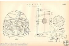Antique Victorian Print c1880 Orrery and Eclipsarean