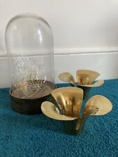 Home Accessories - Hurricane Lamp With Fairy Lights & Brass Candle Holders