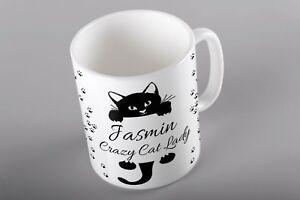 PERSONALISED MUG CUP CUSTOM TEA COFFEE BIRTHDAY GIFT CRAZY CAT LADY TEXT WOMENS