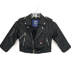 Black Soft Vegan Leather Motorcycle Biker Jacket Kids 5T HEAVY Quality Patched