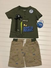 NWT Boys NANNETTE KIDS Pirate Alligator Outfit T-shirt and Shorts 2T Summer 3-D