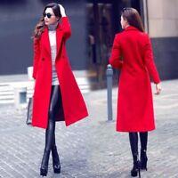Women's Double-Breasted Wool Blend Trench Coat Lapel Slim Long Parka Outwear New