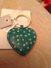 BNWT Radley Keyring - Large Green Spotty  Leather Heart