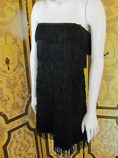 1920s Vintage Style EXPRESS Black Fringed Strapless Cocktail Dress Sz4