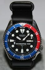 SEIKO 6309-729A Vintage Pepsi Scubapro 450 Diver's Watch Automatic Leather ZULU