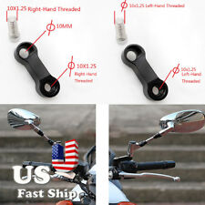 Black 10mm Mirror Riser Extender Standard Thread Motorbike Motorcycle Scooter US