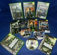 Lot of 4 Xbox;Splinter Cell 1 & Pandora Tom.,Ghost Recon,Rainbow Six 3,W/Mans,VG