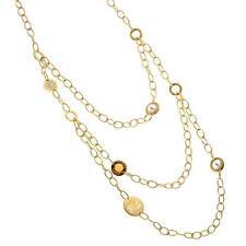 New Rebecca Citrine Bead & Cultured Pearl Golden Bib Necklace
