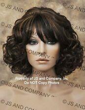 Human HAIR Blend Perfect Curly Wavy wig Black auburn mix Heat Safe F1B/30 sdra