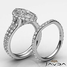 Marquise Diamond Split Shank Engagement Ring Bridal Set GIA G SI1 Platinum 2.9ct