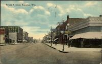 Superior WI Tower Ave c1910 Postcard