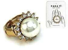 Gold Tone Round Cream Faux Pearl Stretch Ring Fashion Jewelry