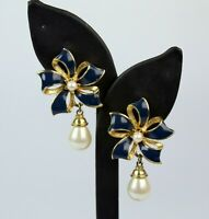 Vtg Gold Tone Blue Enamel Faux Pearl Ribbon Bow Design Drop Dangle Earrings