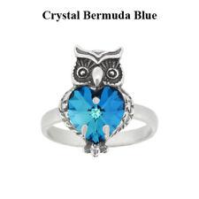 Anillo De Plata Esterlina Búho Hecho Con 6228 cristales de Swarovski ® * colores con efecto