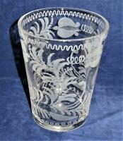 """Art Glass, Etched Flowers & Vines, Vase or Ice Bucket, 7 1/4"""""""