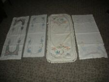 LOT OF 4 VTG EMBROIDERED SCARFS TABLE RUNNERS LACE EDGE-ROSES BIRDS FLOWERS