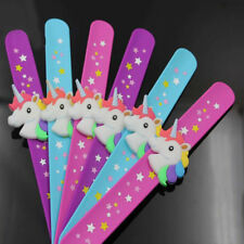 Rainbow Rubber Unicorn Horse Slap Bracelet Band Kids Birthday Party Favors Gifts