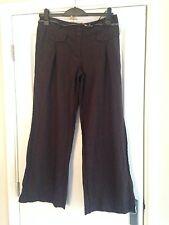 "BNWT NEXT Brown Belted Wide Leg Linen Blend Trousers Size 10 Petite Leg 28.5"""