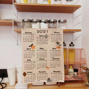 2021 Cartoon Wall Fabric Calendar Daily Schedule Planner 50X70 CM Gift for Y^qi