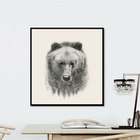 Bear Canvas Mural Painting Art Animal Gifts Office Home Wall Decor Frameless