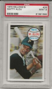 1970 KELLOGG'S #28 MATTY ALOU, PSA 9 MINT, PITTSBURGH PIRATES, L@@K !