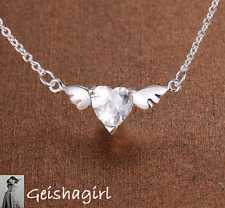 "Stunning 925 Sterling Silver Clear CZ Angel Wings Pendant Necklace 18"" UK Seller"