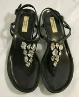 Women's Simply Vera Wang Sandal Size 6.5 Ankle Strap Wedge Black Jeweled Face