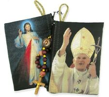 Pope John Paul Devine Mercy Tapestry Rosary Pouch Cloth