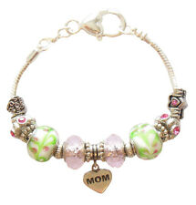 "Mother's Day Gift Bracelet Mom Charms Beads Crystal Beads Silver 8"" IN GIFT BOX"