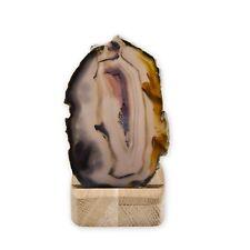 Set Achatscheibe mit Holzständer Achat Scheibe Dekoration Feenlicht Mehrfarbig