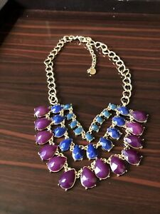 Talbots Gold Chain Necklace With Blue And Purple Faceted Collar Beads