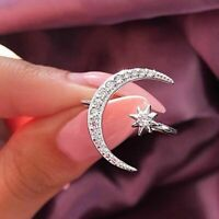 Open Star Moon Ring Crystal Stone Silver Rose Gold Color Finger Jewelry Band New