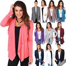 Womens Cardigan Asymmetric Hem Waterfall Jersey Long Sleeve Shrug Drape Wrap Top