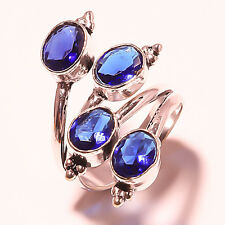 HANDMADE 925  SILVER FACETED LONDON BLUE TOPAZ RING SIZE 9