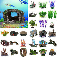 DIY Artificial Aquarium Ornament Fish Tank Stone House Resin Landscape Decor LOT