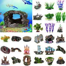 DIY Artificial Aquarium Ornament Fish Tank Stone House Resin Landscape Decor LOT