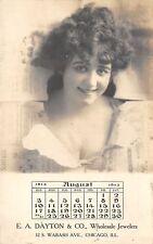 Chicago IL~EA Dayton Wholesale Jewelers~August Girl~Break~1913 Adv Calendar~RPPC
