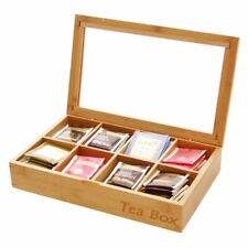 Tea Box Storage Organiser 8 Compartments, Made of Natural Bamboo