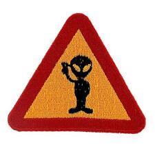 Patch ecusson brode backpack alien warning biker moto thermocollant ovni