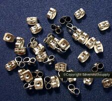 40 White gld plt butterfly post earring backs (clutches) wire nuts 4x6mm fpe143A