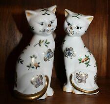 "Two Andrea by Sadek Porcelain Cats Sitting Floral Butterflies Gold Trim 7"""