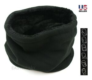 Mens Womens Winter Neck Warmer Polar Fleece Fur Lined Gaiter Ski Face Mask Scarf