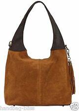 Handbag Bliss Italian Suede & Leather Slouch Shoulder Bag Wide Handle & Tassel